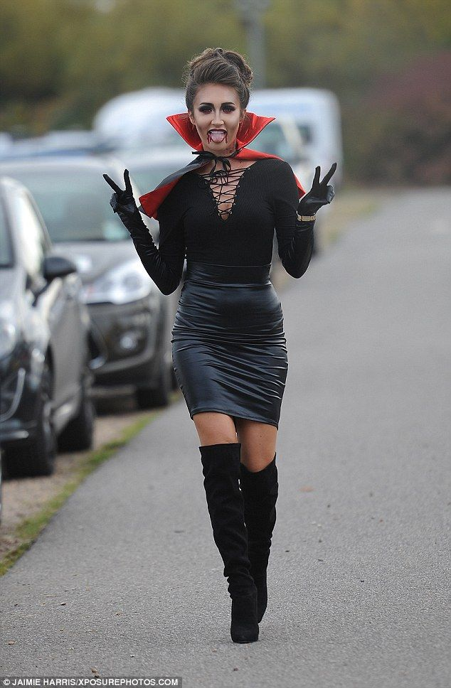 Frightfully good! Megan McKenna would certainly have caught Pete Wicks' attention as she donned a sexy vampire outfit to film TOWIE at Thorpe Park on Wednesday