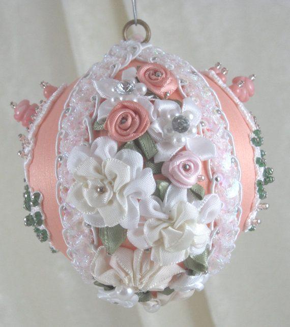 Vintage Style Christmas Ornament CB134 Peach by WhiteHawkOriginals, $20.00