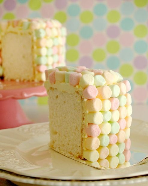 if you have the time... marshamllow the entire cake for a polkadot look