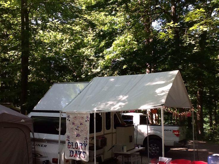 Modifizierter Carport Fur Unseren Aframe In 2020 Umgebaute Wohnmobile Zelt Camping Organisation Campingbeleuchtung