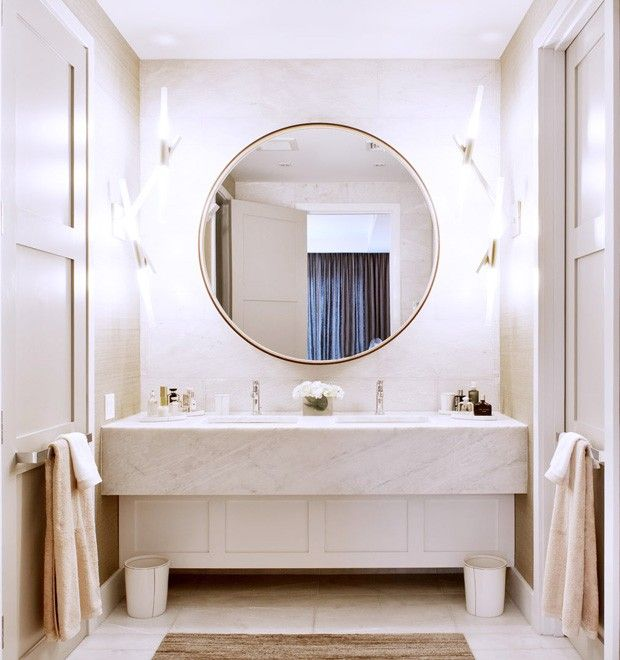 889 best images about bathroom decorating ideas on - Round mirror over bathroom vanity ...