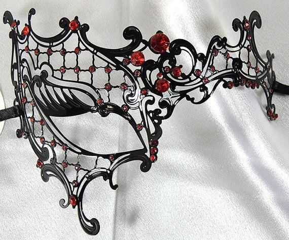 Phantom Black Laser Cut Venetian Masquerade Mask with Crimson Red Rhinestones - Filigree Metal Design
