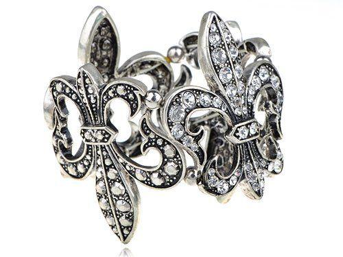Silvertone Vintage like Crystal Rhinestone Fleur De Lis Fashion Stretch Bracelet Alilang. $19.99