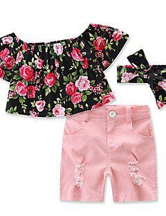 977af30826 Girls' Solid Color shorts T-shirt Floral Clothes Sets Cotton Summer ...