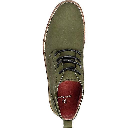Dark green nubuck lace up desert boots - boots - shoes / boots - men