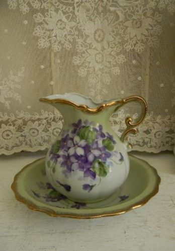 Vintage Wash Bowl & Pitcher~Hand Painted Violets.
