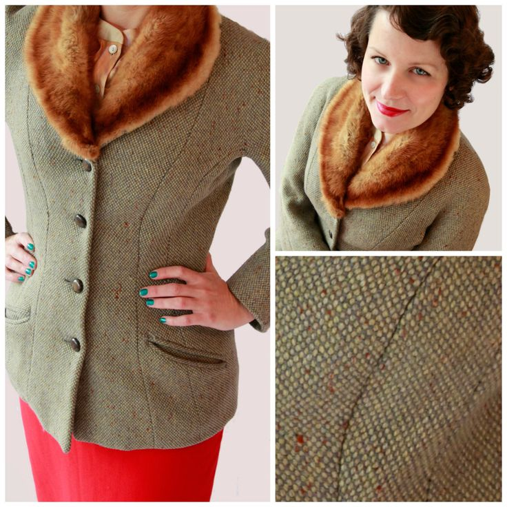 Adorable Early 1950s Fitted Fleck Wool Jacket w/ fox Collar by fridalarsensvintage on Etsy