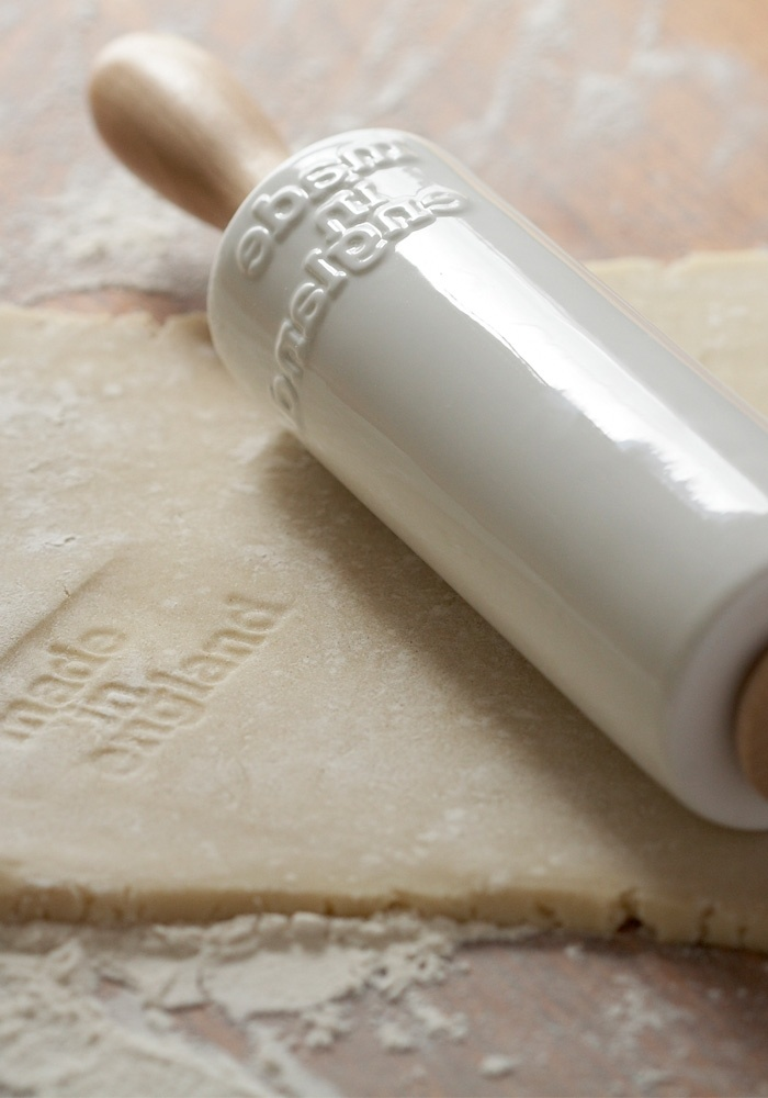 """Ceramic rolling pin, stamped with """"made in England"""" to emboss your dough! ~ sweet little thing..."""