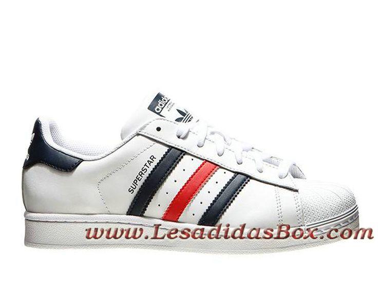 Adidas Chaussures Homme Femme Originals Superstar Foundation Blanc/Rouge S79208 Adidas Pas cher