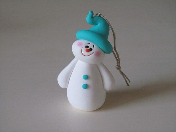 Polymer Clay Christmas Snowman Ornament by ClayPeeps on Etsy,