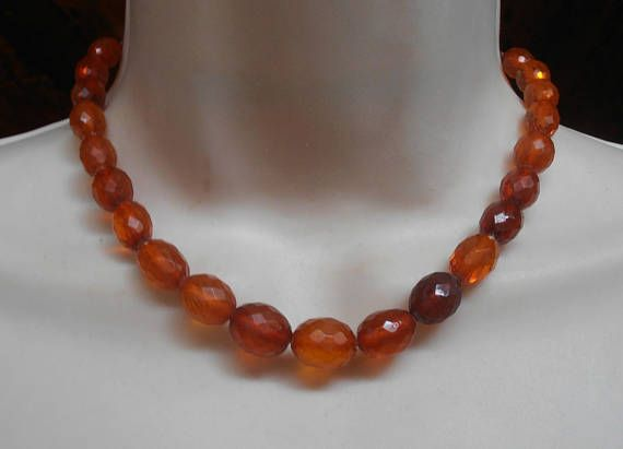Faceted Amber Bead Necklace Art Deco Olive Shaped Genuine
