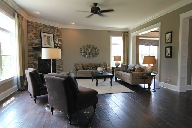 Wall color neutral dark wood floors love the dark floors for Wall colors for dark rooms