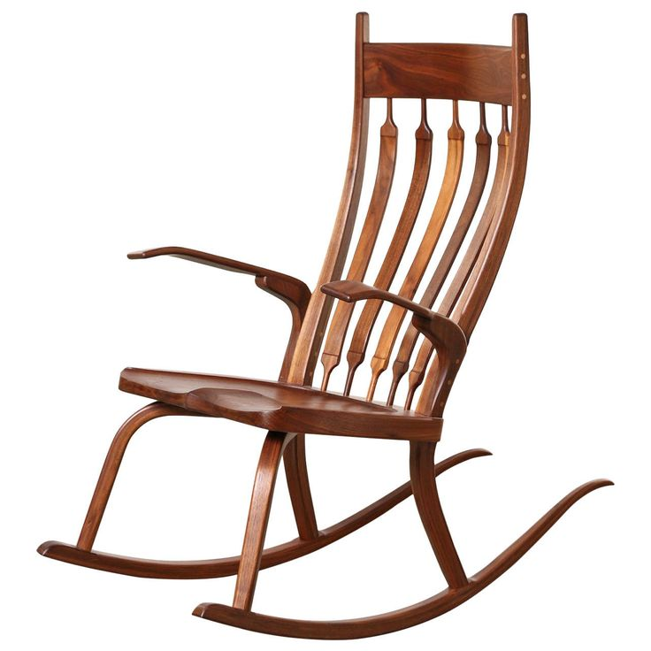 Contemporary California Craftsman Rocking Chair, Dark Walnut | From a unique collection of antique and modern rocking chairs at https://www.1stdibs.com/furniture/seating/rocking-chairs/