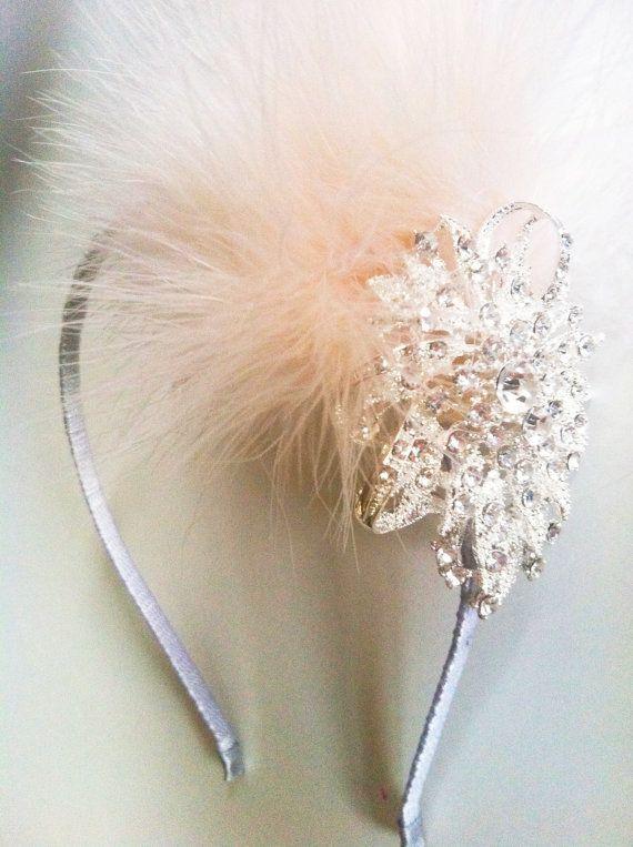 Great Gatsby 1920's Crystal Flower and Marabou Feather Headband-Winter Wedding- Vintage Bridal Headpiece