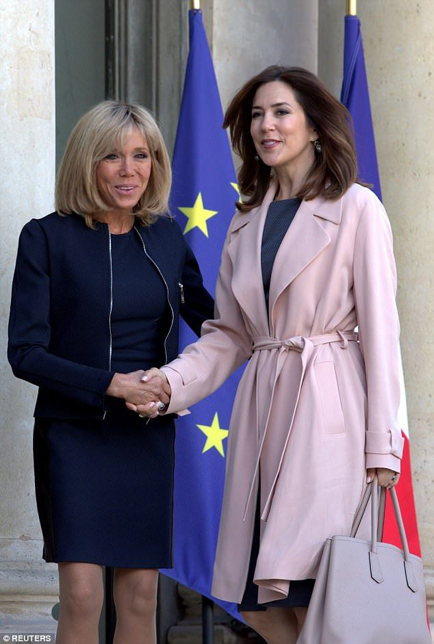 Princes Mary (pictured right) welcomed by Brigitte Trogneux (pictured left) who is wife of...
