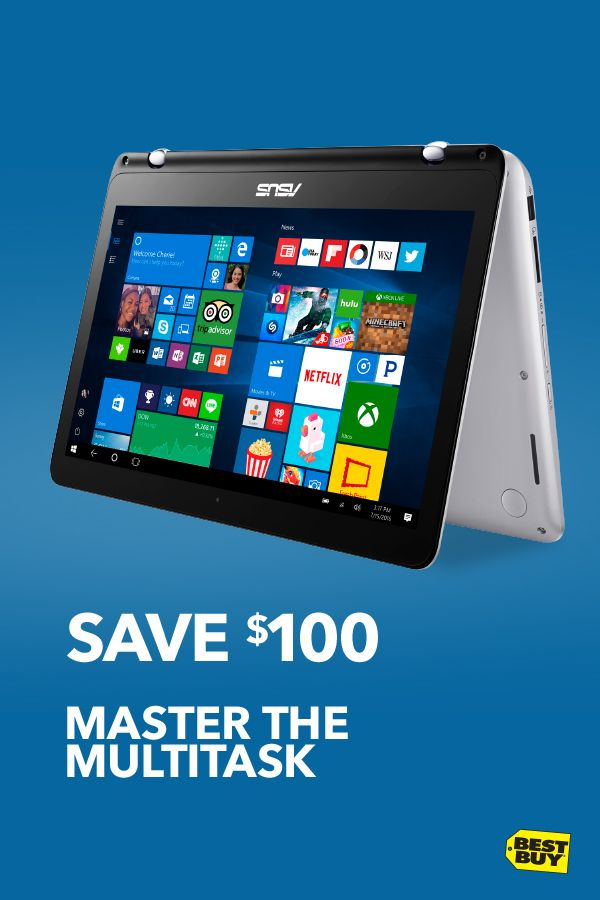 """Save $100 on the Asus Q304 13.3"""" 2-in-1 Laptop with Intel Core i5 Processor. Whether you're cramming for midterms or rocking budget spreadsheets, this Intelpowered laptop has you covered. Time for a break from all that responsibility? Flip, fold and unwind to tablet or tent mode with your favorite videos, movies and more. It's an all-in-one must-have. Offer valid through 10/7/17."""