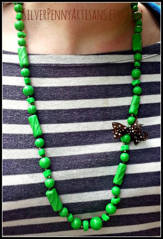 Green Necklace. Handmade Upcycled Vintage by SilverPennyArtisans