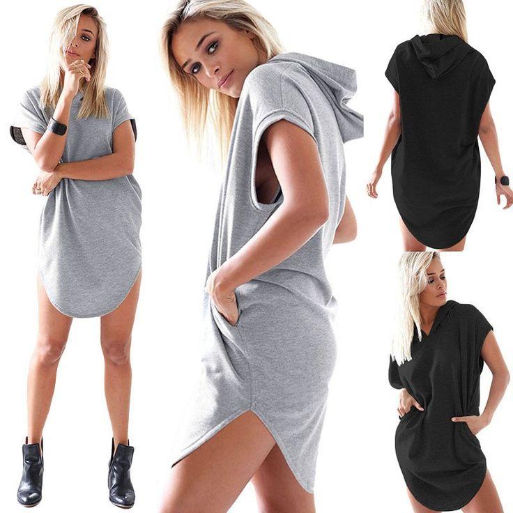 Latest Design Women Hoodie Summer Short Sleeve Hoodies Casual Long Hooded Sweatshirt Solid Pullovers