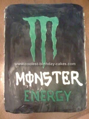Homemade Monster Energy Drink Birthday Cake: I baked three vanilla cake box mixes mixed with green food coloring to match the color of the energy drink. After it cooled, then rolled out black fondant.