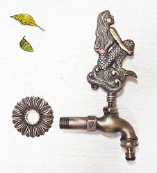 Solid Brass Mermaid Garden Outdoor Faucet $68.99  Www.mermaidgardenornaments.com   Mermaid Stepping Stone