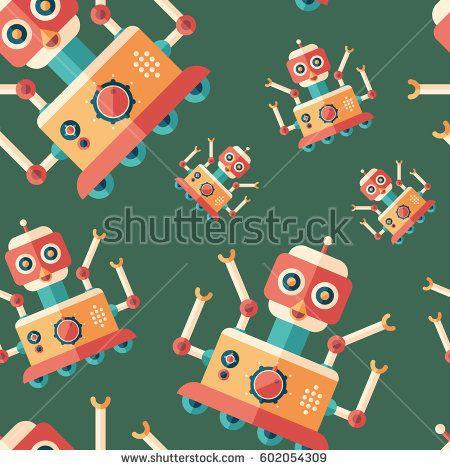 Robot bird flat icon seamless pattern. #robots #robotics #vectorpattern #patterndesign #seamlesspattern