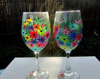 Copas de vino, de la mano pintada, flores primavera, flores de colores, vidrio de vino de 20 oz Jumbo