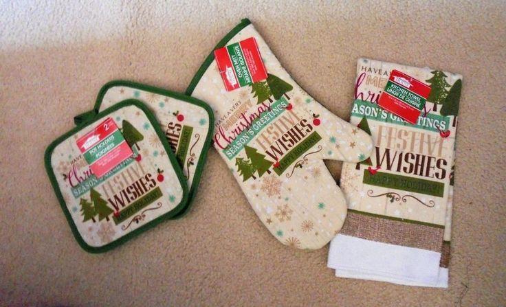 Kitchen Linen Set - 1 Oven Mitt, 1-Towel 2-Pot Holders Christmas Gift Set New #ChristmasHouse