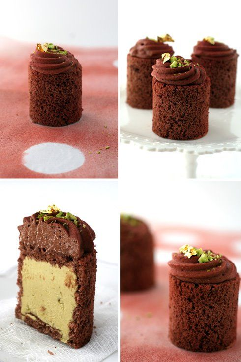 Chocolate and Pistachio Mousse Cakes: Mouse Cakes, Cakes Chocolates, Pistachios Mouse, Pistachios Cakes, Chocolates Pistachios, Eating Cakes And Cookies And, Pistachios Mousse, Chocolates Mousse, Mousse Cakes