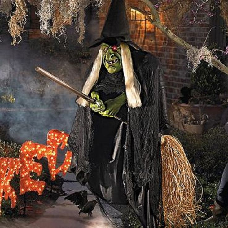 Animated flying witch halloween prop haunted house outdoor for Unique outdoor halloween decorations