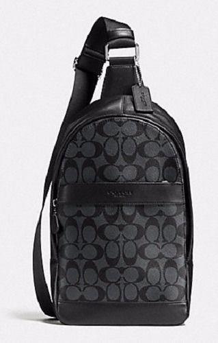 COACH Men 54787 ~ CHARLES PACK ~ Charcoal Signature PVC SLING Bag Backpack~NWT #Coach #Backpack