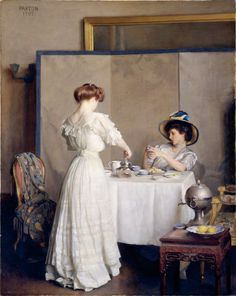 "William Mc Gregor Paxton ""Tea Leaves"" 1909. Metropolitan Muséum of Art New-York"