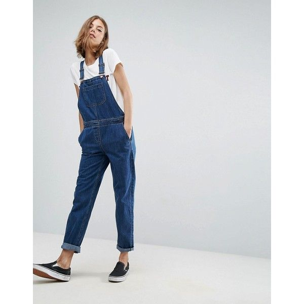ASOS Denim Dungaree in Stonewash Blue (842.345 IDR) ❤ liked on Polyvore featuring jumpsuits, blue, asos jumpsuit, party jumpsuits, asos, prom jumpsuit and denim dungaree