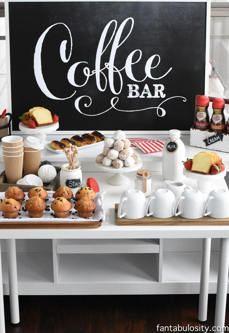 "Coffee Bar Party: ""You've Warmed My Heart,"" theme! LOVE what she did as a random act of kindness with her guests! DIY Coffee bar ideas galore, and SO easy! http://fantabulosity.com"