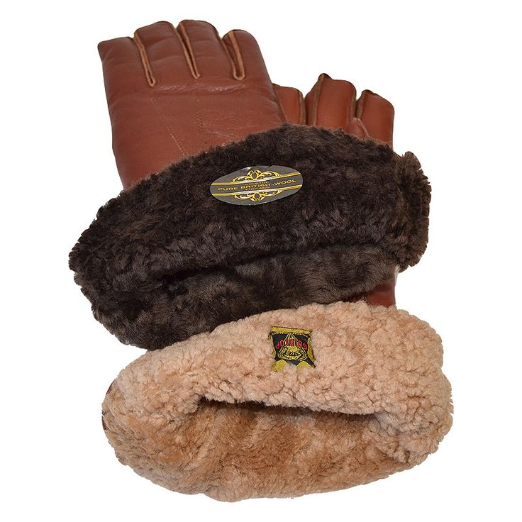 Sheepskin and Merino Wool Lined Classic Leather Motorcycle Gauntlets in Brown by Goldtop. The Best Warm Winter Motorcycle Gloves!