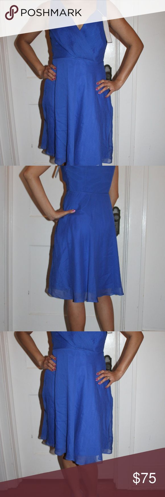 J CREW NWT Petites 2 Electric Blue Dress Stunning! From the sought after designer J Crew. Featuring this gorgeous electric blue dress made of 100% silk that is perfect for your formal/cocktail events. This is a beautiful piece!  MAKER: J CREW MATERIAL: 100% Silk, Lining 100% Polyester COLOR: Electric Blue DIMENSION: US Small J. Crew Dresses