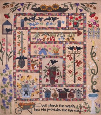 A Primitive Garden by Lisa Bongean of Primitive Gatherings....can't wait to get this done...on the last border :)  wool applique on distressed cotton