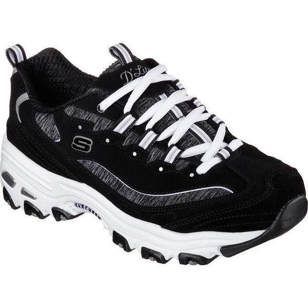 Women's Skechers D'Lites Sneaker - Me Time/Black/White Athletic ($63) ❤ liked on Polyvore featuring shoes, sneakers, training shoes, black and white shoes, black and white sneakers, skechers trainers and low heel shoes