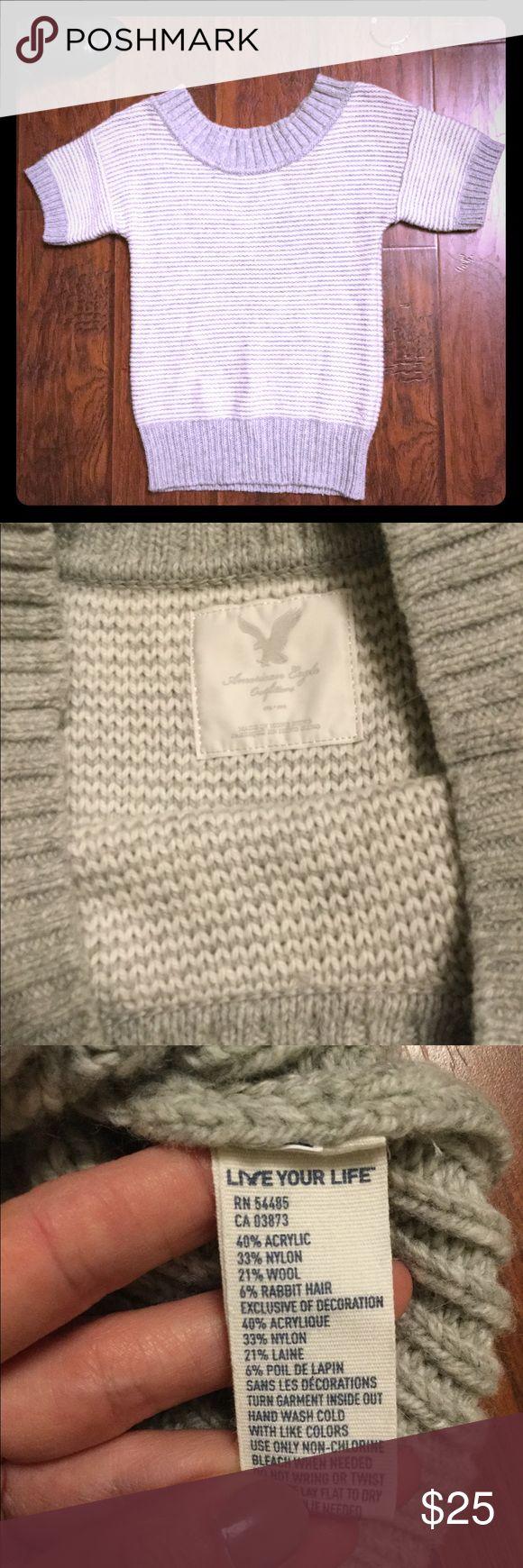 American Eagle Sweater American Eagle gray/white striped sweater. Short sleeved size Medium acrylic, nylon, wool, and rabbit fur blend make it soft and warm. American Eagle Outfitters Sweaters Crew & Scoop Necks
