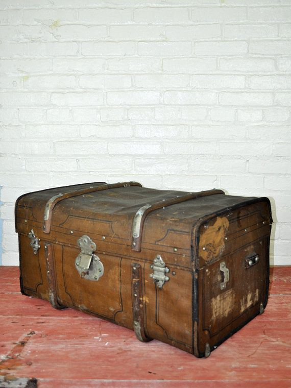 Vintage Canvas Tapestry Trunk With Working Lock and Key