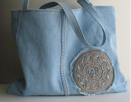 Recycled denim purse.: Idea, Recycled Jeans, Upcycled Denim, Denim Bags, Jeans Tote, Blue Jeans, Denim Handbag, Tote Bags, All