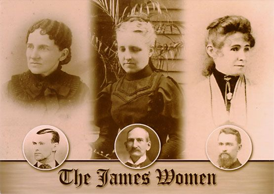 "From left to right: Zerelda ""Zee"" Amanda Mimms James, 1845-1900. Married Jesse April 24, 1874. Anna ""Annie"" Ralston james, 1853-1944. Eloped with Frank June 1874. Susan Lavenia James Parmer, 1849-1889. Sister of Frank and Jesse James. Married former bushwhacker Allen Parmer in 1870.    Jesse James Farm and Museum  21216 James Farm Rd., Kearney, MO 64060"