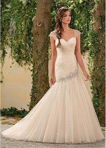 Dressilyme Elegant Seersucker & Tulle Sweetheart Neckline Mermaid Wedding Dresses