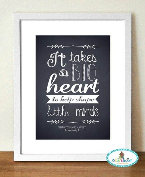 Print - Big Heart Design Black and White Gorgeous idea for end of year teacher present