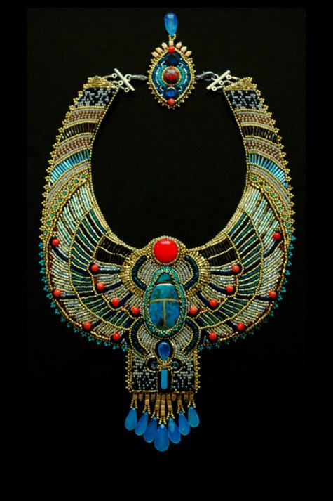 Bead Embroidered Egyptian Scarab Necklace --- Inspired by Tutankhamun Pectoral. Available on Etsy made to order $925.