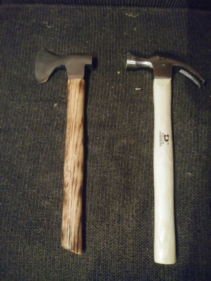 Claw hammer forged into hatchet from what it started as to what it became.