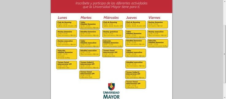Ramas deportivas, talleres y clubes en UMayor #Temuco  www.umayor.cl/descargables/documentos-um/abril2013/talleres-deportiva2013.pdf