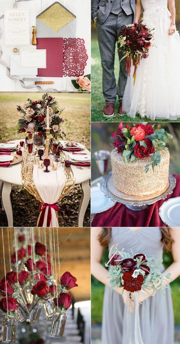 Fall color tones wedding, burgundy and gold wedding