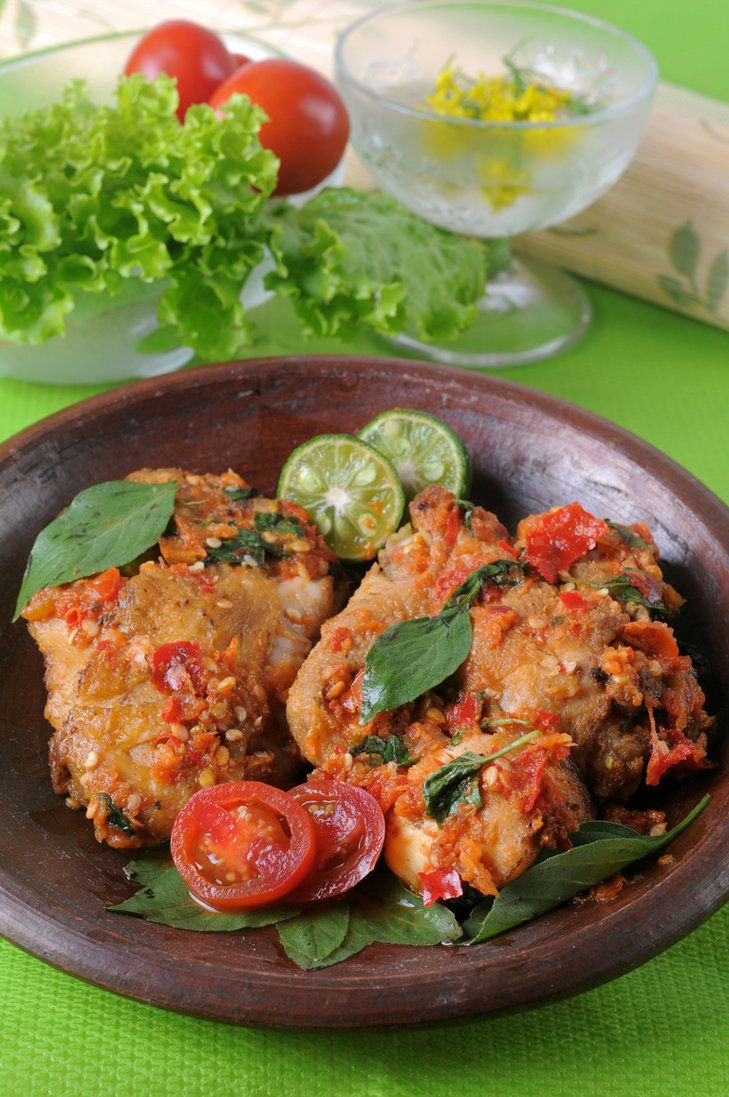 fried chicken with chili sous - ayam penyet ~ indonesian food