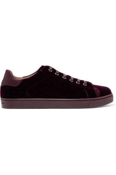 Gianvito Rossi - Leather-trimmed Velvet Sneakers - Burgundy