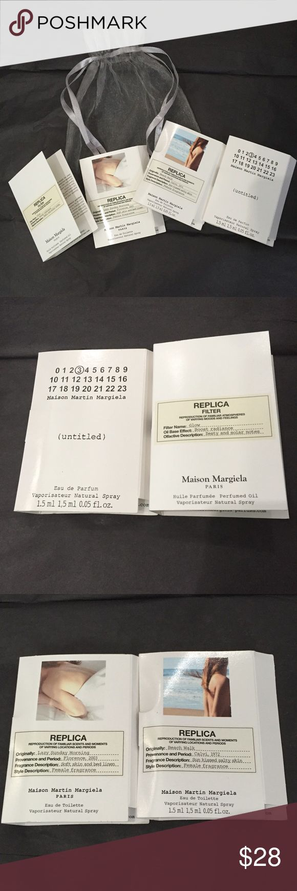 Replica Fragrances Replica by Maison Margiela, Paris perfume vials 4 count includes: Glow boost radiance zesty & solar notes, Beach Walk sun kisses salty skin, Lazy Sunday Morning soft skin & bed linen, Untitled #3 all female fragrances, silk pouch include it!!! Maison Margiela Makeup Eye Primer